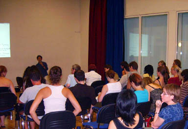 Photo of talk given at Dragon Hall London in July of 2006