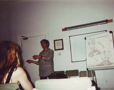Photo of talk I gave at the Quaker center in 2002