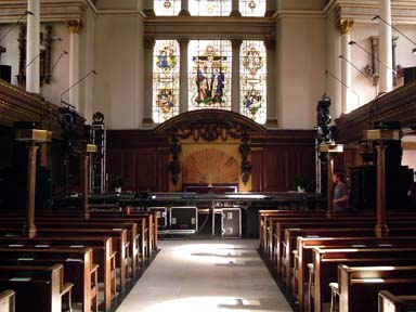 Photo of the interior of st James church Piccadilly just before a rock concert given by the band REM