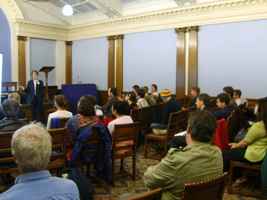 Photo of a talk I gave in Swedenborg hall in October of 2006