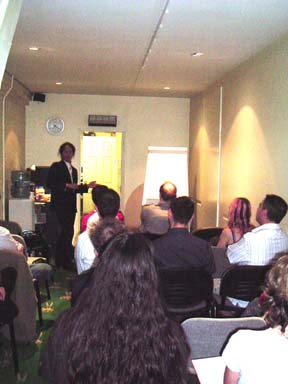 Photo of a talk I gave at Watkins Esoteric centre in 2004