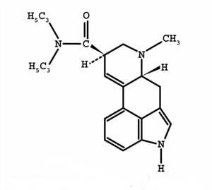 Diagram representing molecule of the Drug Lysergic acid diethylmide or LSD